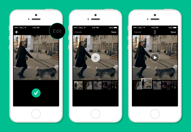 You can now edit Vine videos both in filming and editing modes. Image courtesy of Vine.
