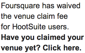 Foursquare Claim Fee