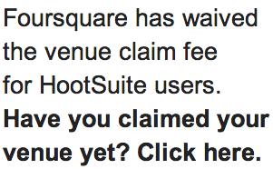 Foursquare Claim Fee