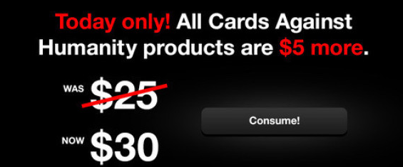 Screenshot taken from Cards Against Humanity website.