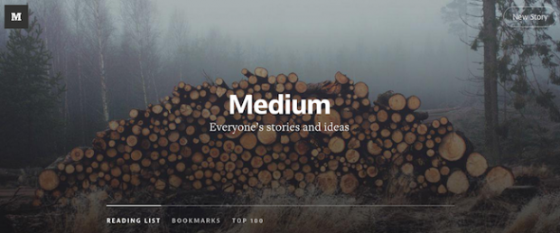 The ever-changing home page header of blogging platform Medium.
