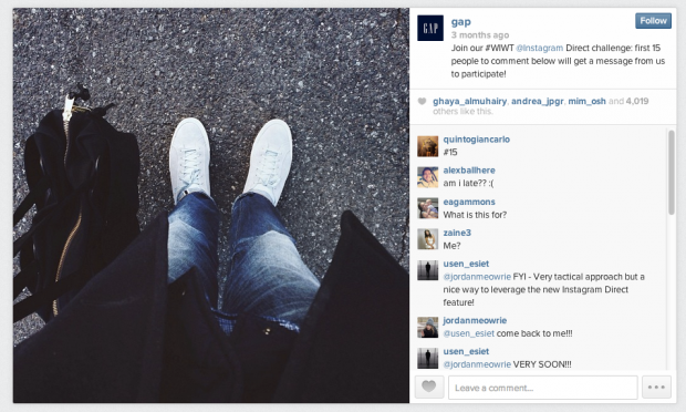 Gap ran a contest with its followers using Instagram Direct.
