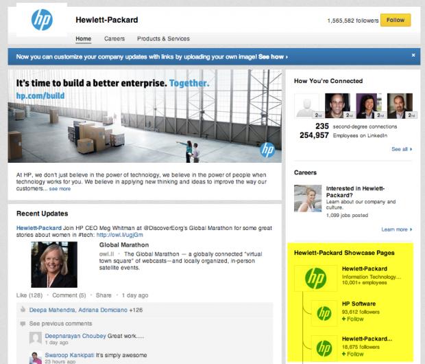 The Hewlett Packard LinkedIn Showcase Page