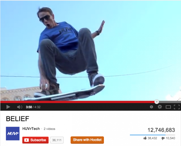 A screenshot from the Huvr video, an unbranded campaign by Funny or Die.