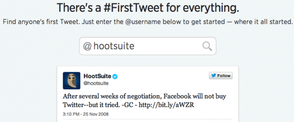 A screenshot of HootSuite's first Tweet.