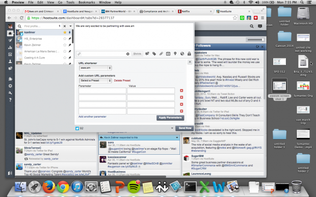 Enable awe.sm as the default shortener in HootSuite