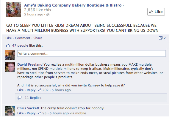 Example of Online Reviews Gone Bad with Amy's Baking Company Bakery Boutique & Bistro