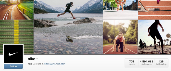 Nike's Instagram feed.