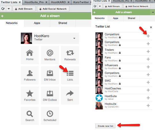 Creating a Twitter List in Hootsuite