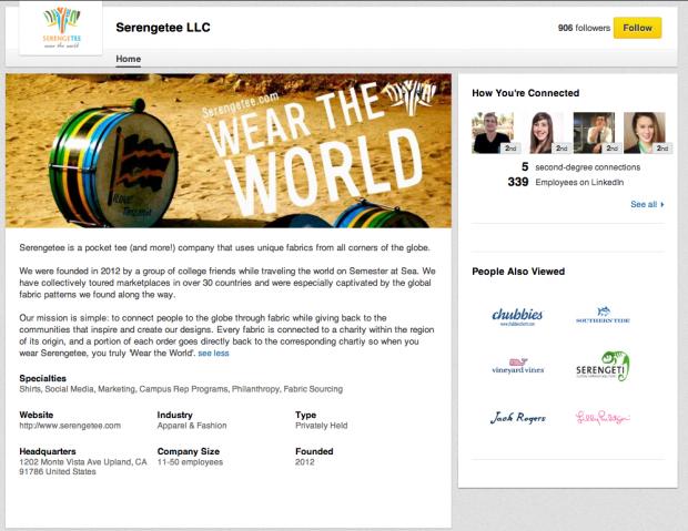 Serengetee's LinkedIn Company Page