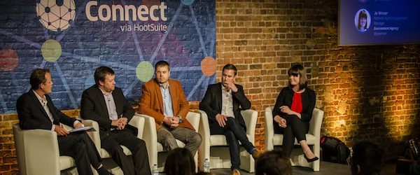 Scott Hornsby (second from the right), Head of Social Media at Local World, speaks on a panel at Connect via Hootsuite London