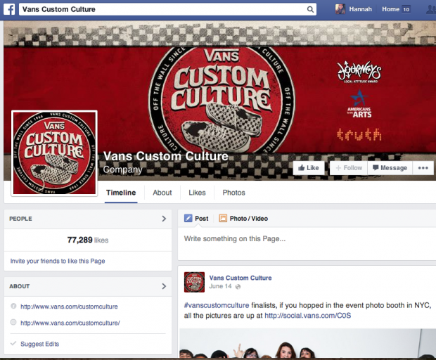 Screenshot from the Vans Custom Culture Facebook Page