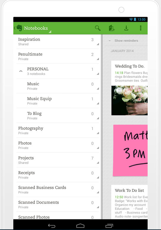 Evernote mobile work app