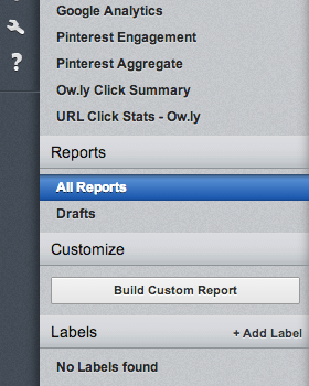 For custom social media reporting choose Build custom report