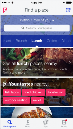 Foursquare Homescreen