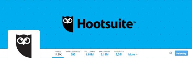 Hootsuite's Twitter profile provides excellent social proof
