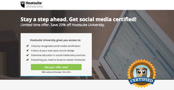 Drive your social media traffic to a landing page like the Hootsuite University back to school campaign