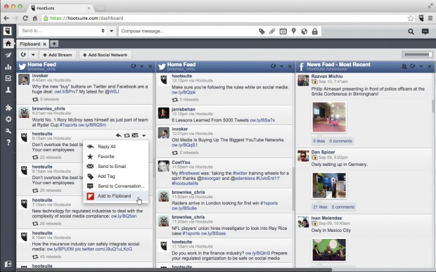 Simply push a tweet to Flipboard from the Hootsuite dashboard