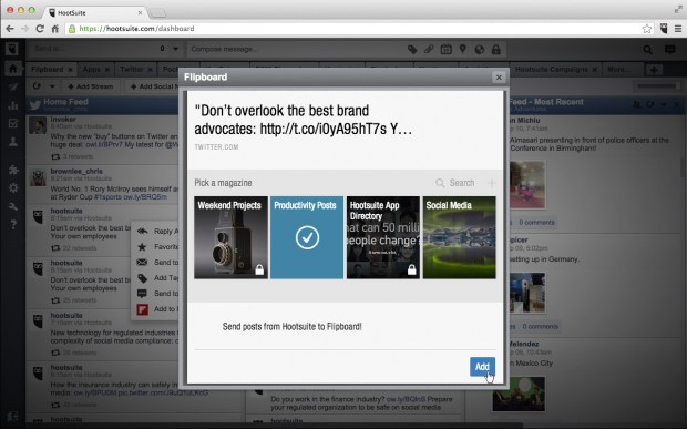 Easily curate and publish to your Flipboard magazines with just a few easy clicks