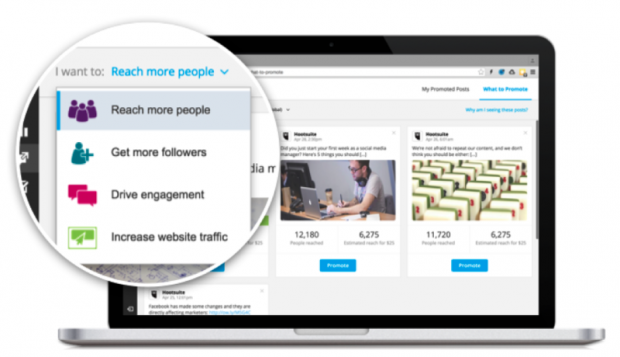 Hootsuite can help you create Facebook ads to promote your product, service or your content