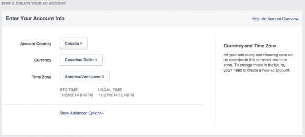 Social media advertising - Facebook ad account