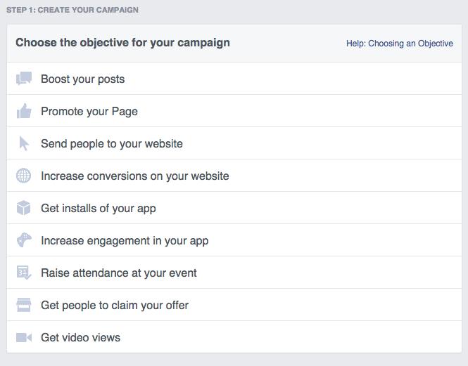 Social media advertising - Facebook ad objective