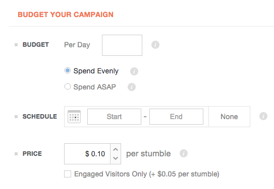 Social media advertising - StumbleUpon Budget