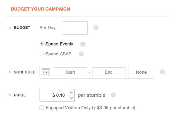 Social media advertising - StumbleUpon Budget
