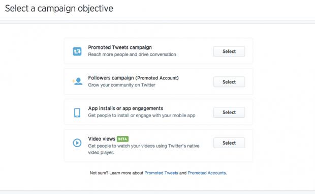 Social media advertising - Twitter ad types