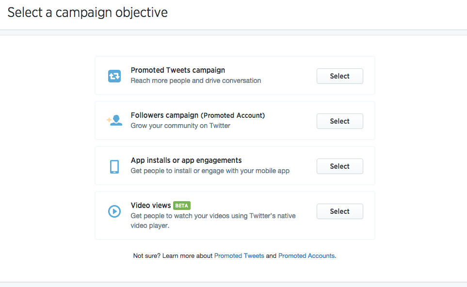 Social media advertising - Twitter ad types