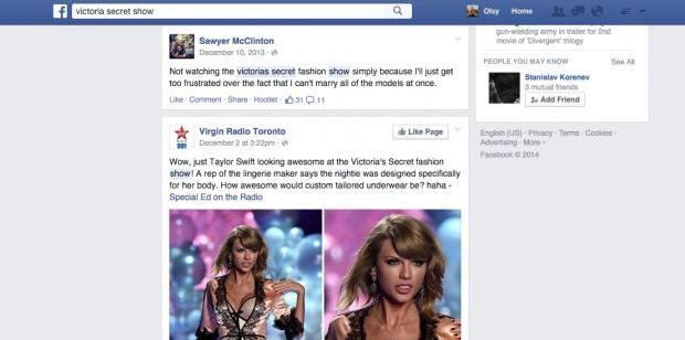 Social media search on Facebook