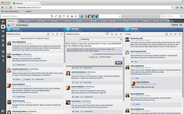 popular social networks like yammer can also be installed in Hootsuite via the Hootsuite app directory