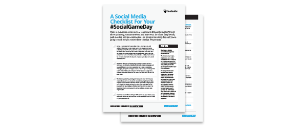 Game Day Social Media Checklist - content marketing ideas