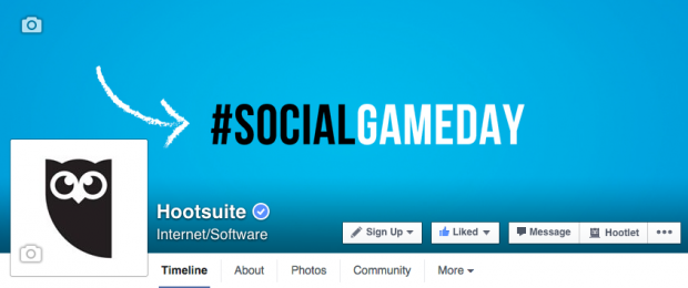 Hootsuite's cover photo promoting our Social Game Day content series