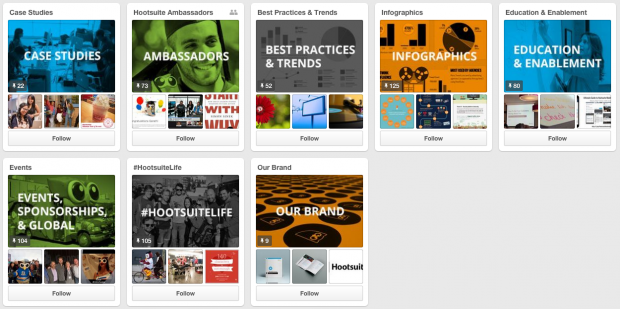 Hootsuite's Pinterest Boards