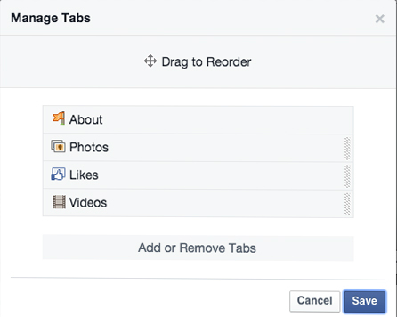 Manage tabs Facebook Page template