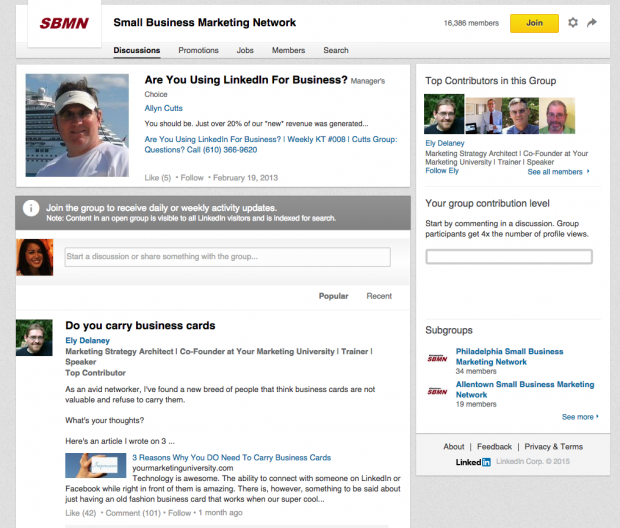 A marketing idea for small business can include using LinkedIn Groups