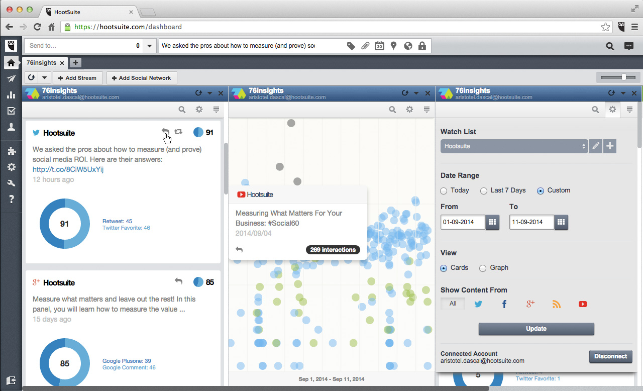 Social media monitoring tool - 76Insights