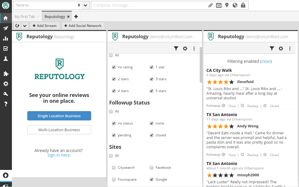 social media monitoring tool - Reputology