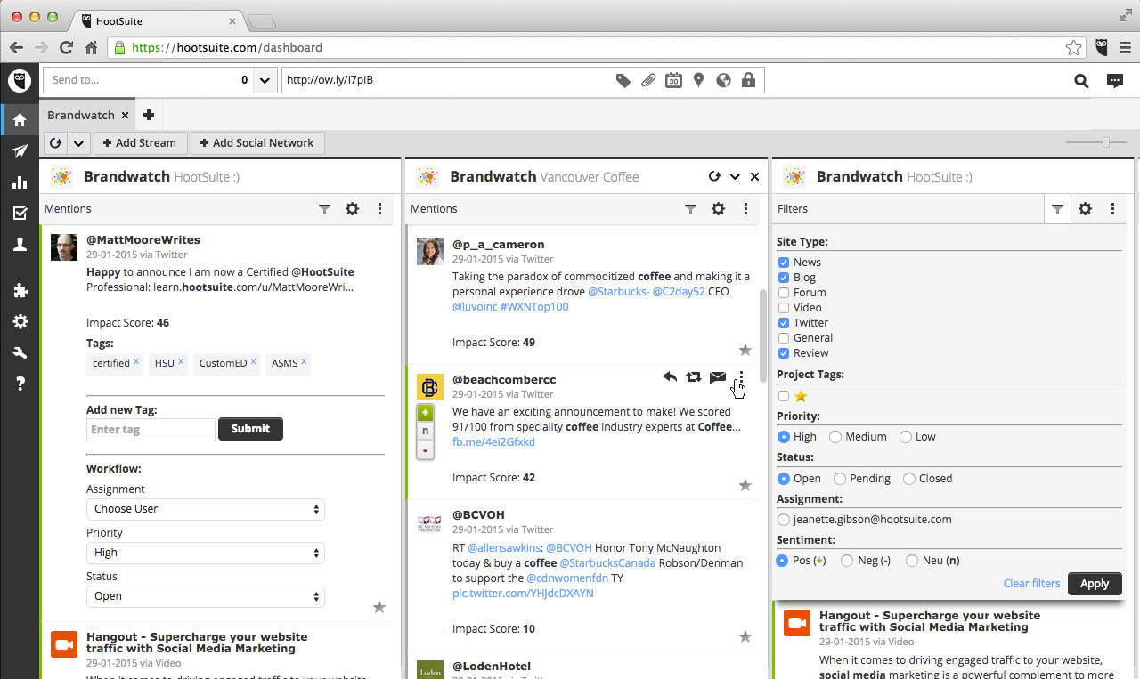 social media monitoring tool - Brandwatch