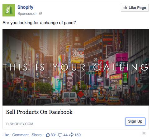 Shopify's Facebook ad