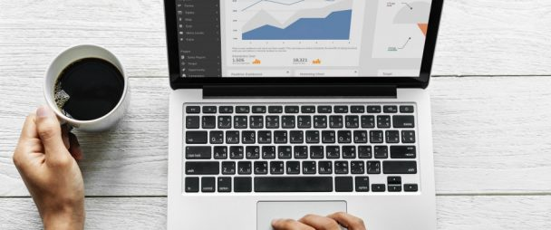 Laptop monitor with analytics dashboard