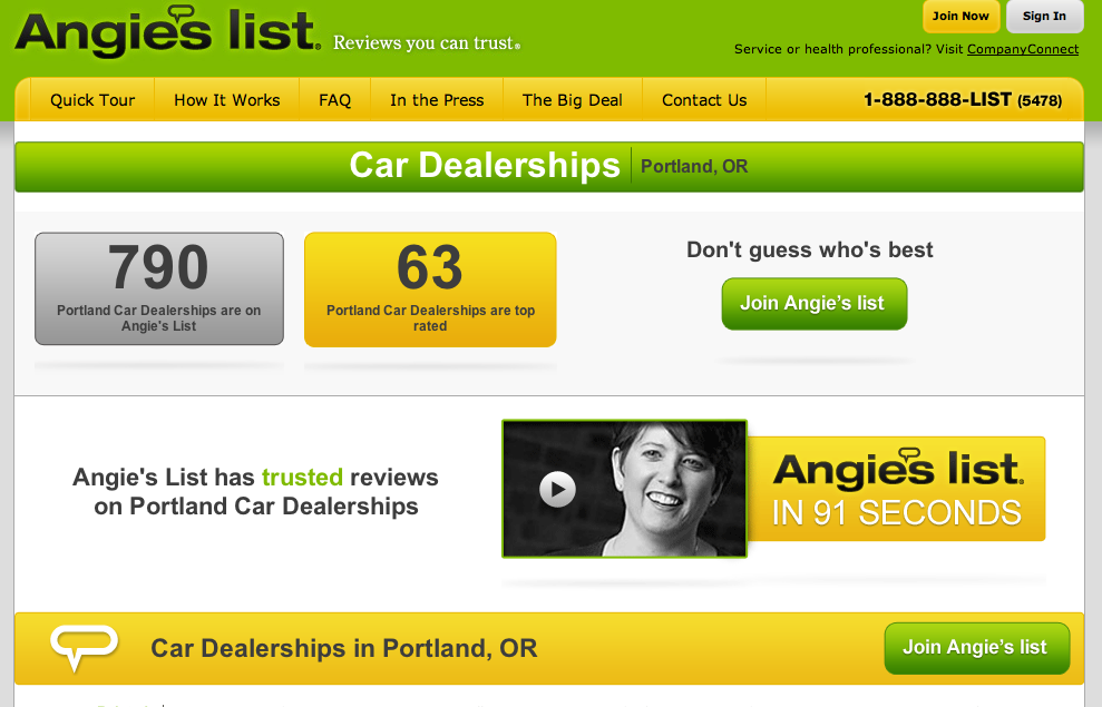 Angies list business reviews