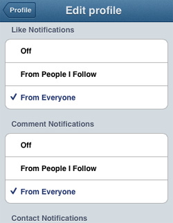 Instagram for Business Push Notifications