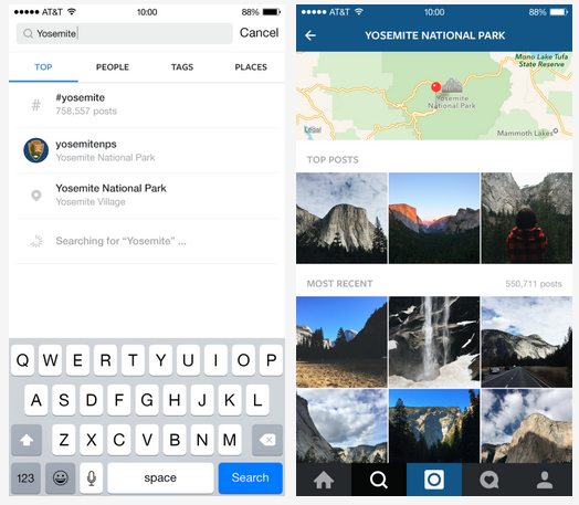 Instagram real-time search