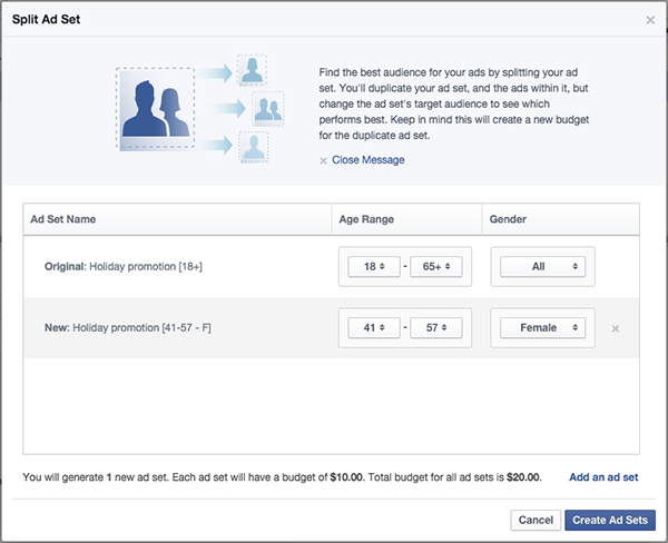 Facebook tests split testing a/b testing Facebook ads