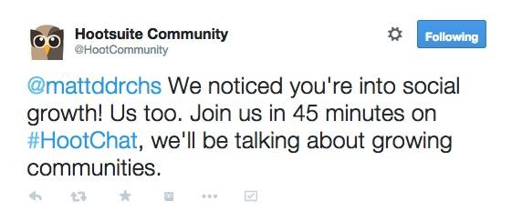 Hootsuite community tweet