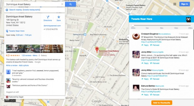 An example of how Hootlet pulls Tweets into Google Maps based on the geographic location that you search for.