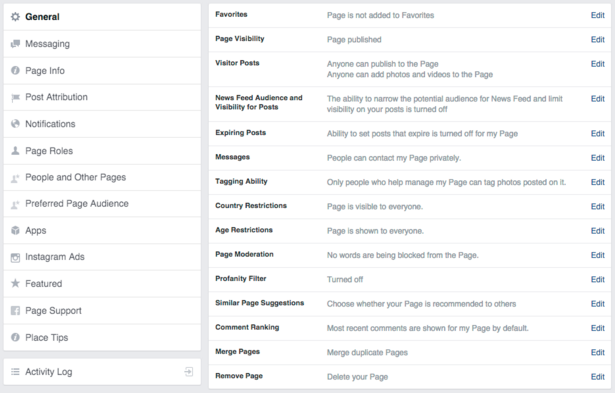 Settings for Facebook Business Page