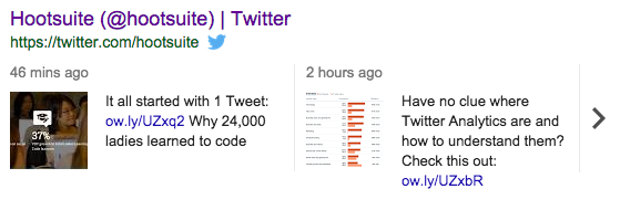 hootsuites twitter feed on google for search